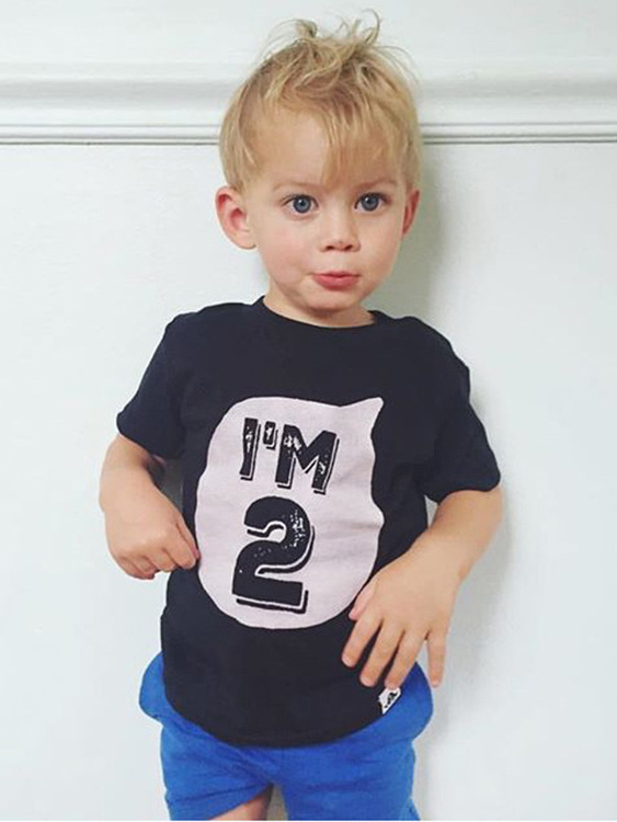 Kids Outfits Letter Pattern Short Sleeves Tops in Black