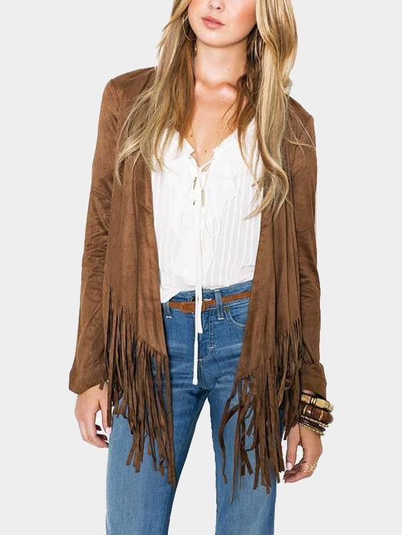 Brown Tassel Embellished Long Sleeves Top