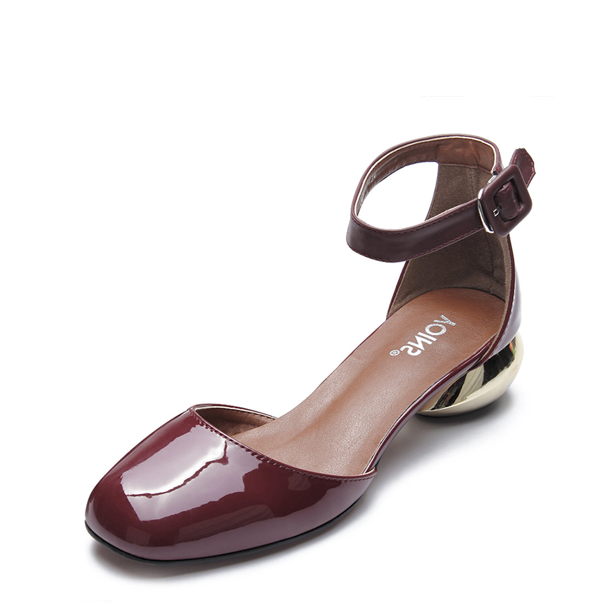 Burgundy Ankle Strap Patent Leather Heels