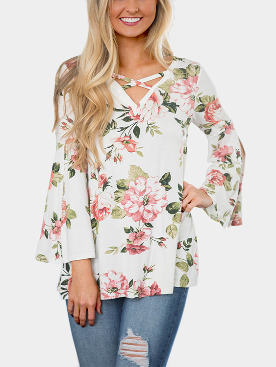 Random Floral Print Crossed Front Flared sleeves T-shirt in White клаксон lh 8 12v s8