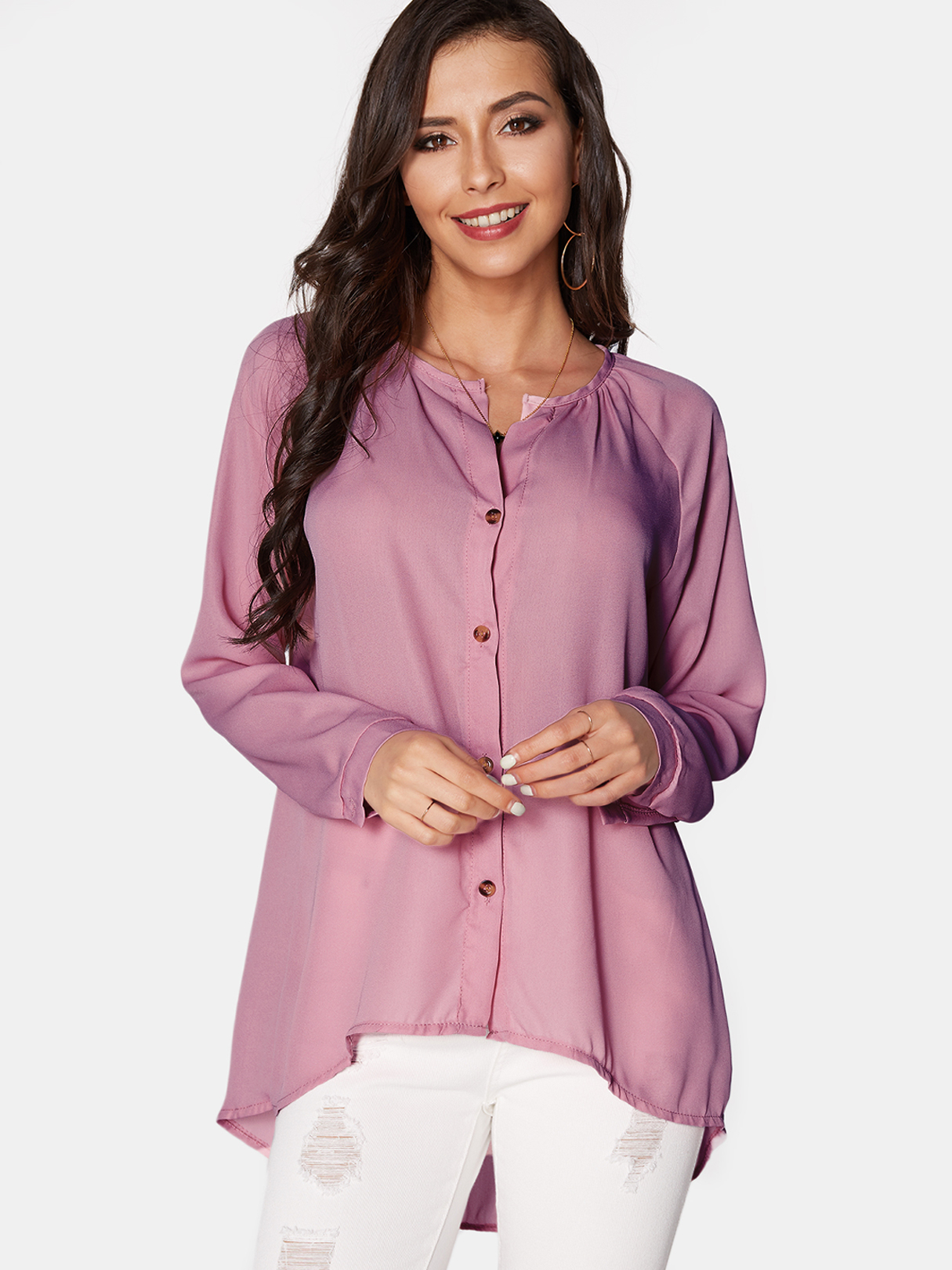 Pink Cozy V-neck Long Sleeves Button-down Chiffon Blouse купить недорого в Москве