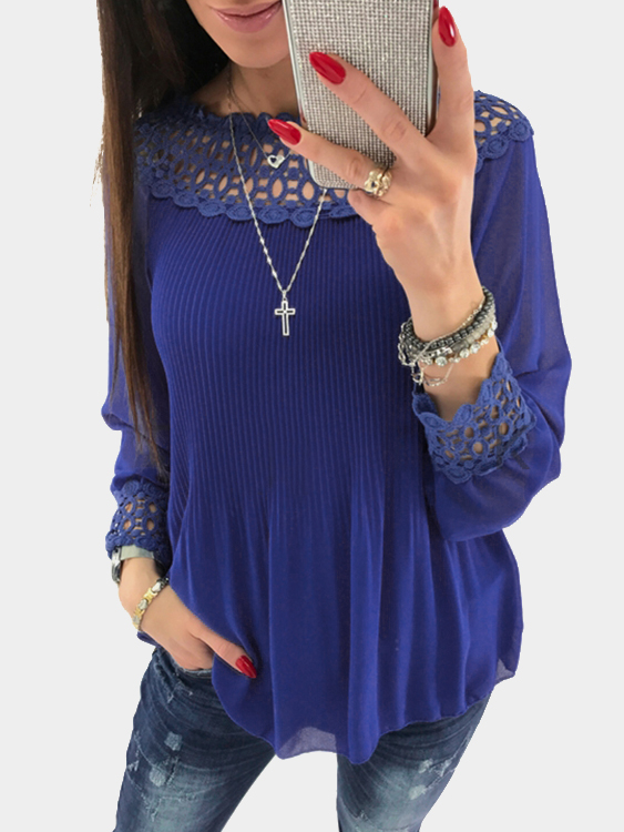 Blue Lace Details Off The Shoulder Long Sleeves Blouse semi sheer hollow out off shoulder blouse with lace details