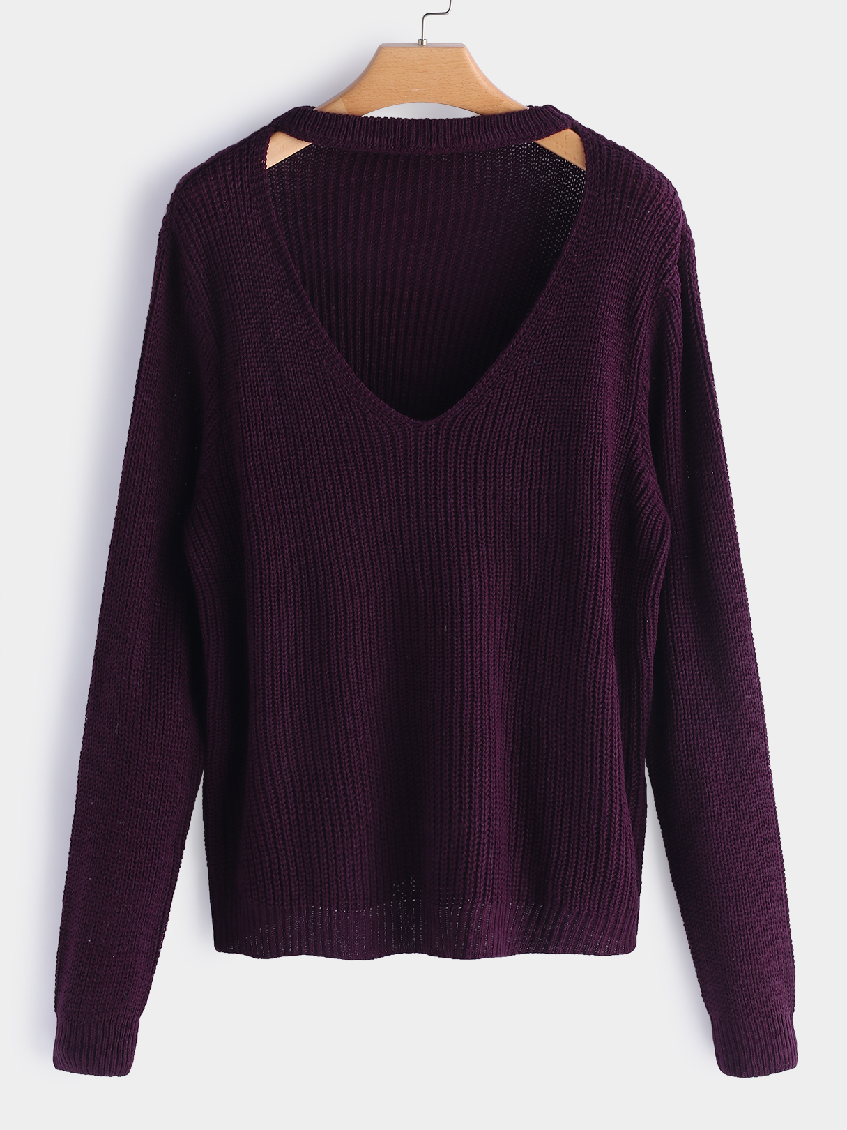 Purple V-neck Long Sleeves Sweaters red v neck long sleeves splited hem loose sweaters