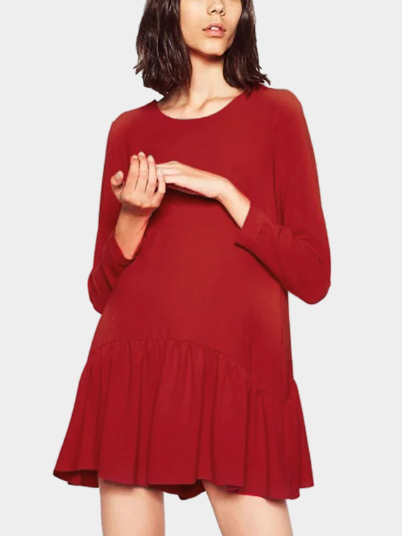 Red Flounced Hem Loose Dresses with Back Lace-up Design
