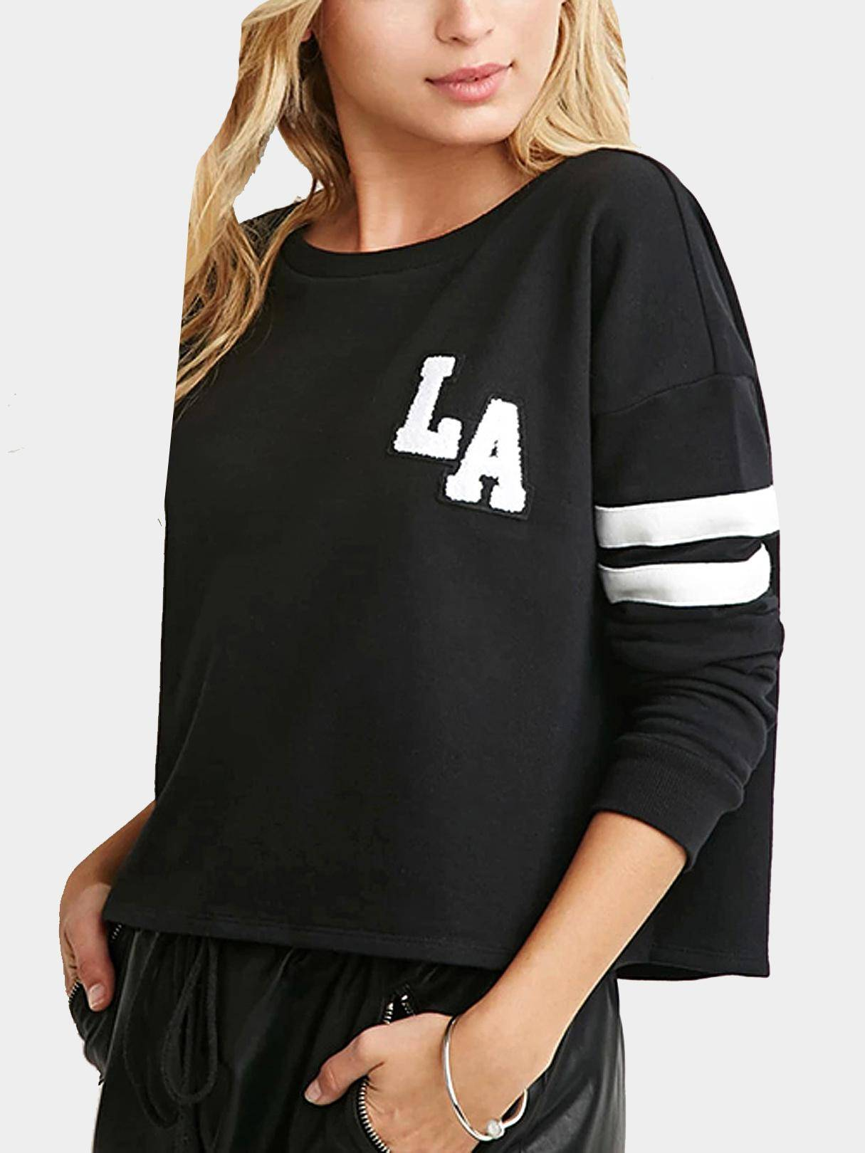 Yoins LA Sweatshirt with Stripe Sleeve