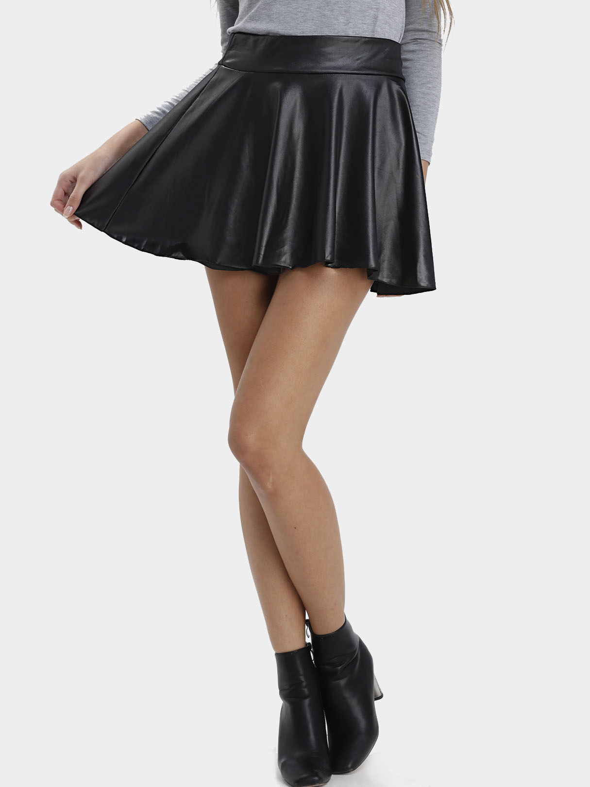 Black Leather Look Skater Skirt With Elastic Band pleated high waist a line skater skirt