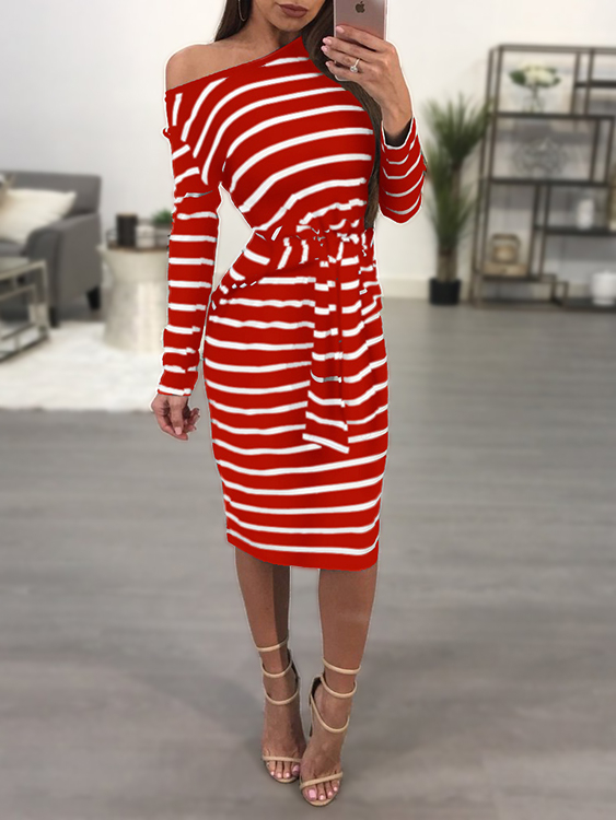 Red One Shoulder Knot-up Front Pinstripe Midi Dress