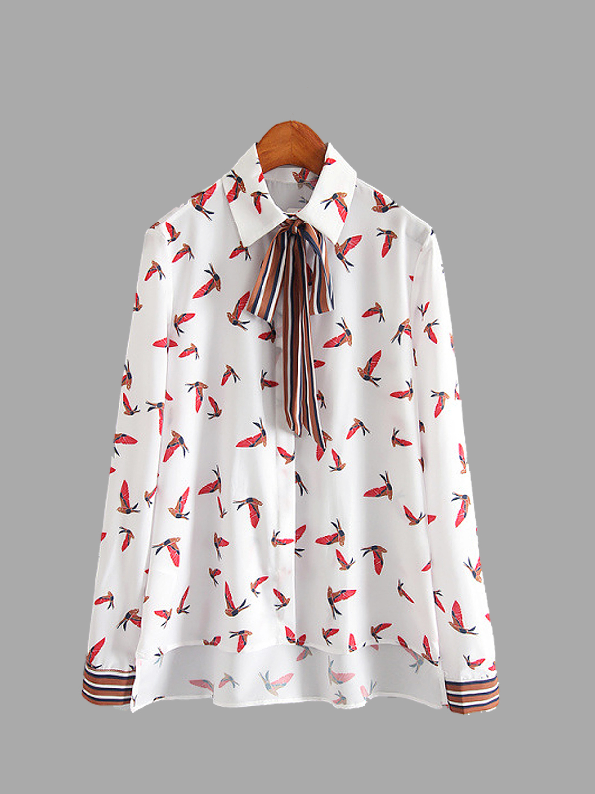 Bird Printing High Low Hem Shirt with Tie Neck