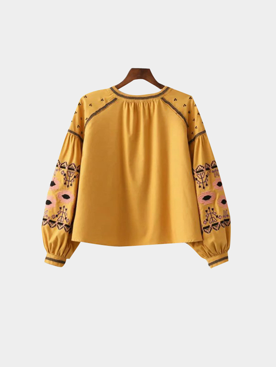 Boho Yellow Drop Shoulder Sleeves Lace-up Details Jacket от Yoins.com INT