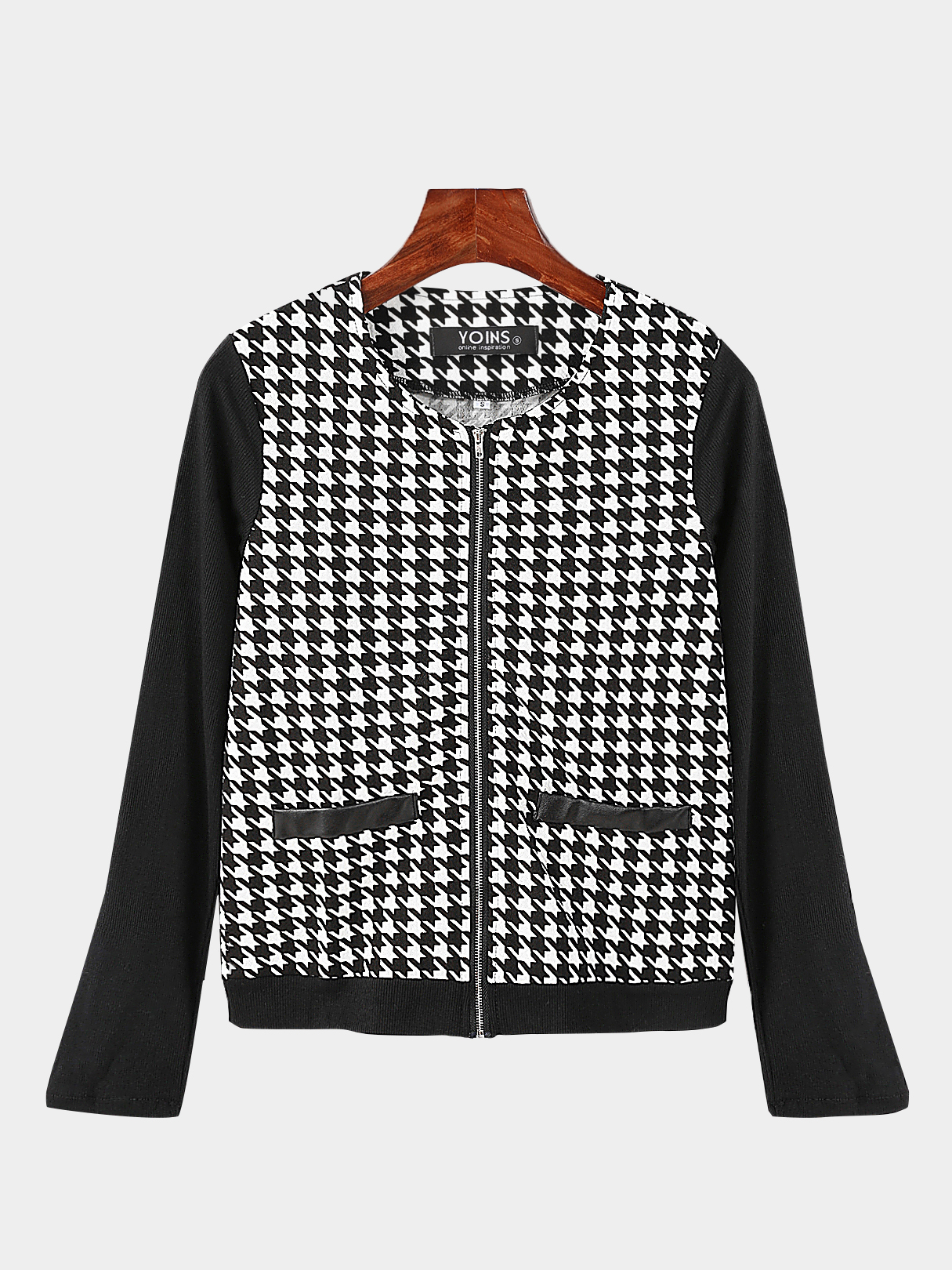 Black Fashion Houndstooth Jacket