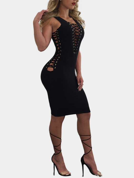 Black Sleeveless Lace-up Design Bodycon Dress zip back fit and flared plaid dress