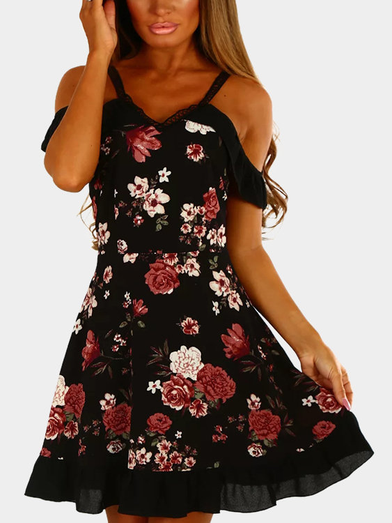 Black Random Floral Print Cold Shoulder Flounced Hem Dress цена 2017