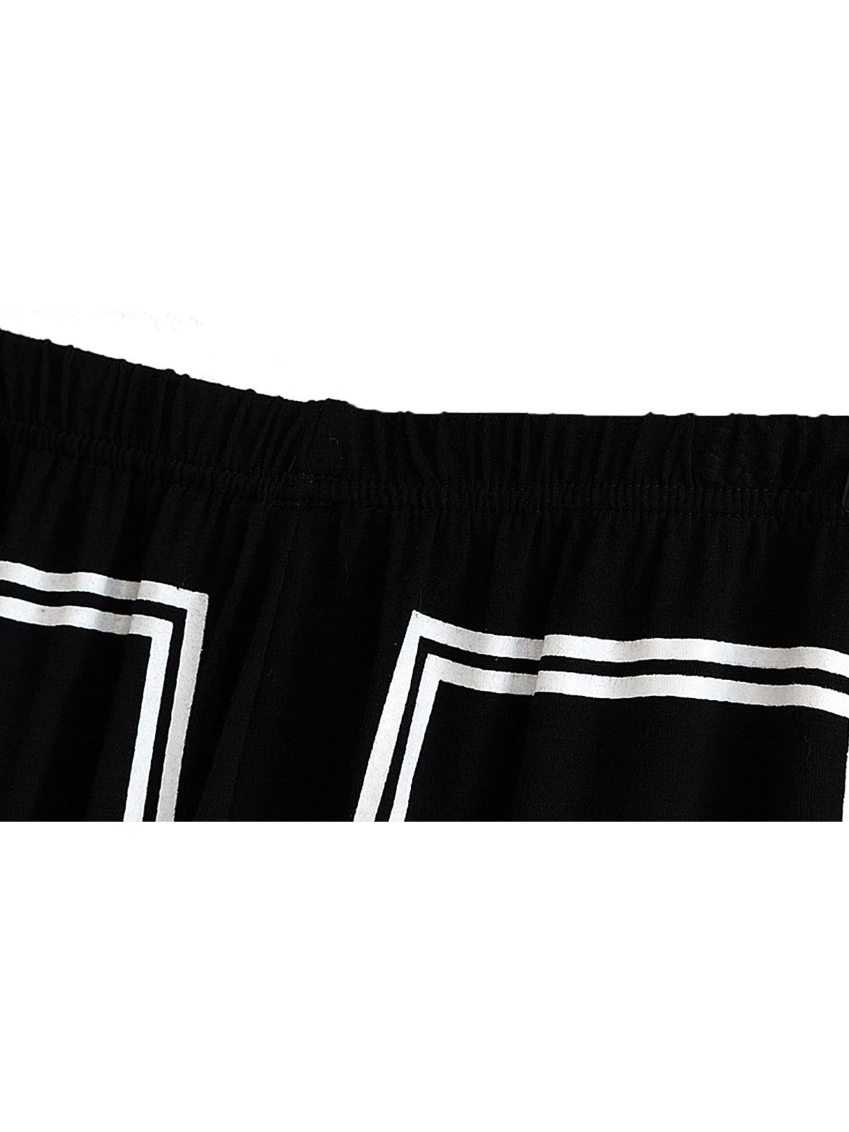 Black Stretchy Legging with White Line Pattern от Yoins.com INT