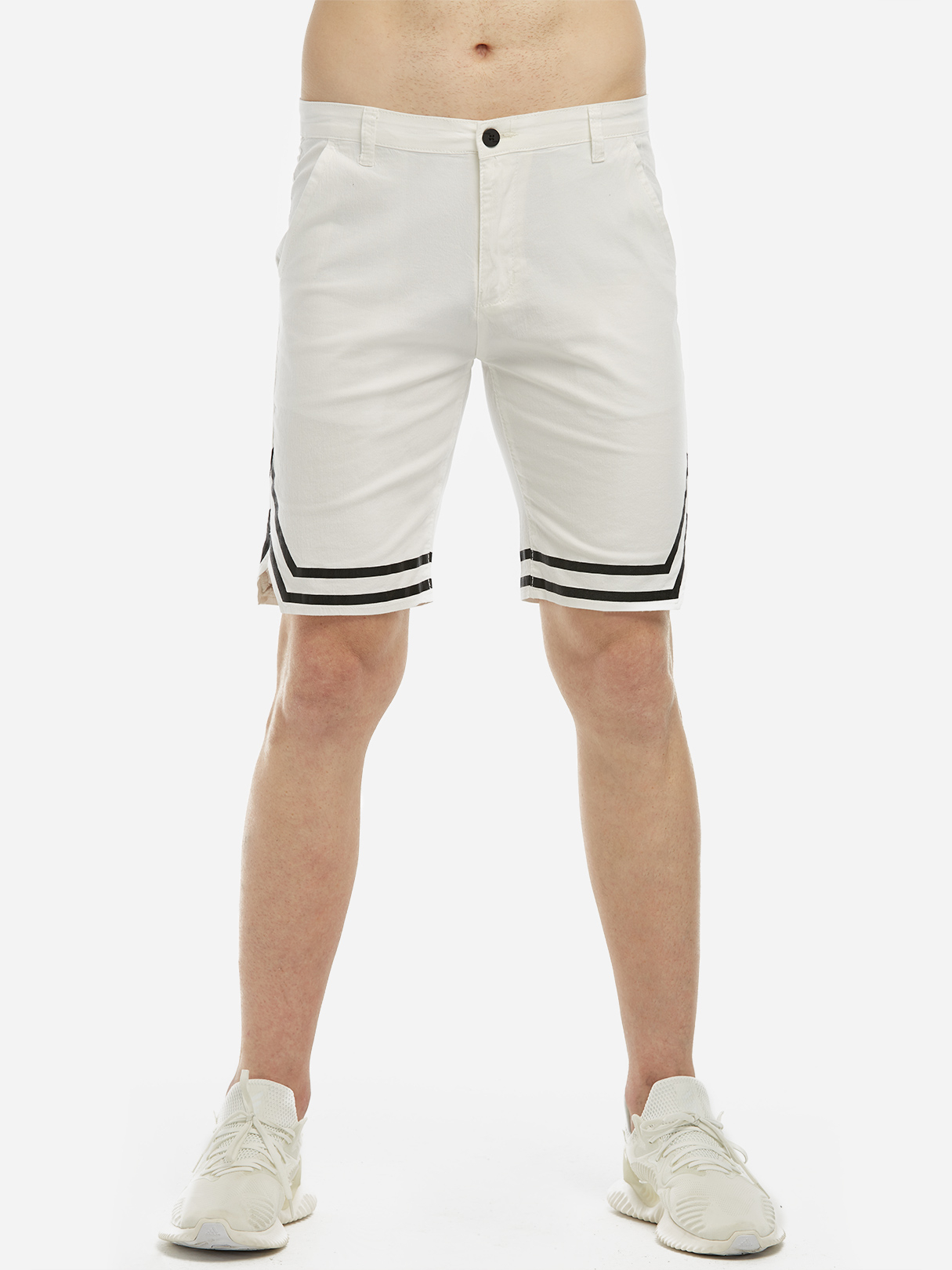White Fashion Style Split Side Middle Waist Men's Casual Shorts