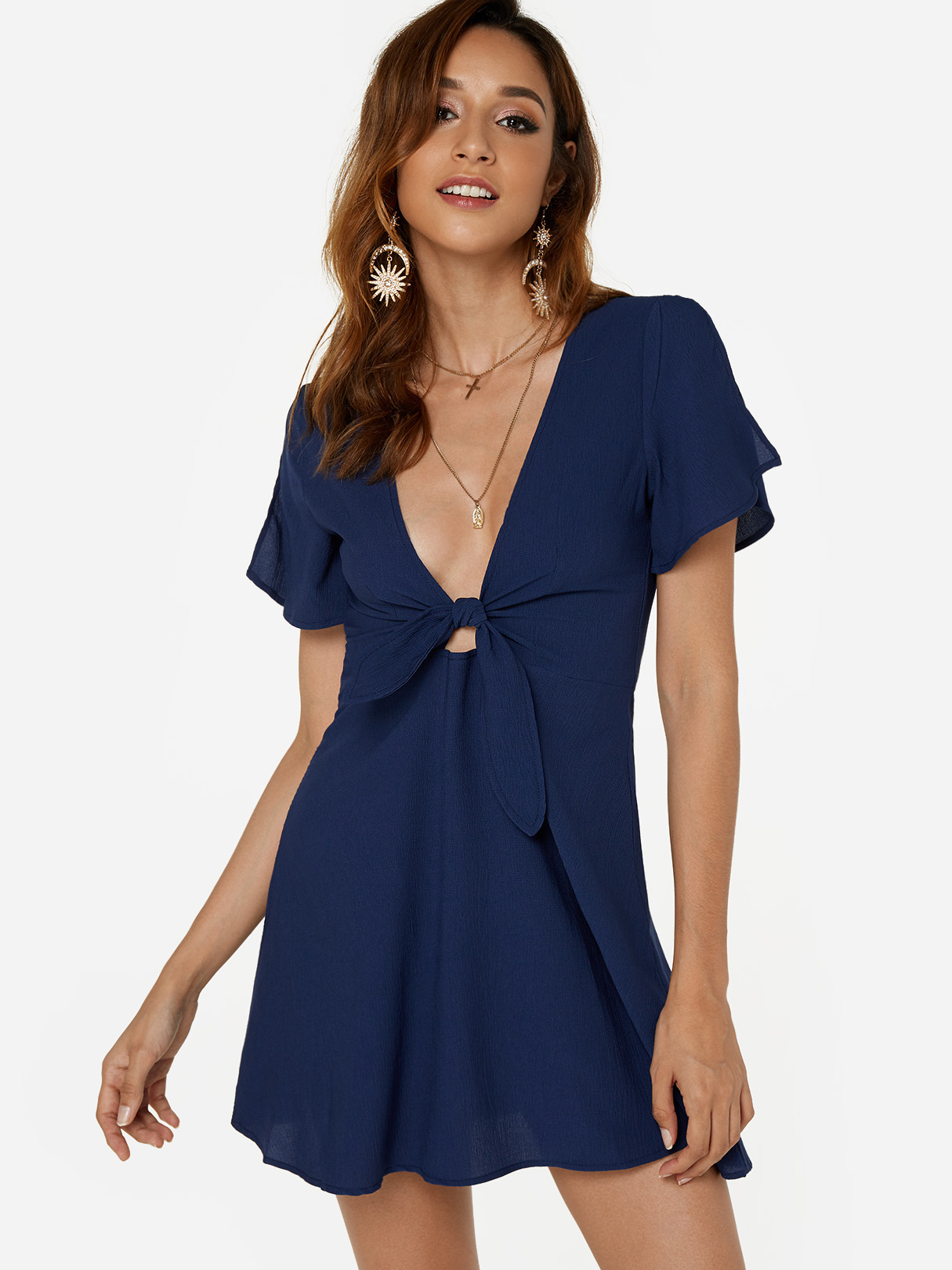Navy Self-tie Design Deep V Neck Slit Sleeves High-waisted Mini Dress