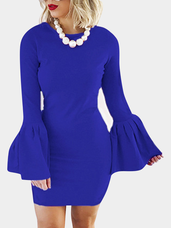 Blue Solid Color Flared Sleeves Bodycon Mini Dresses black zip design plain round neck flared sleeves midi dress
