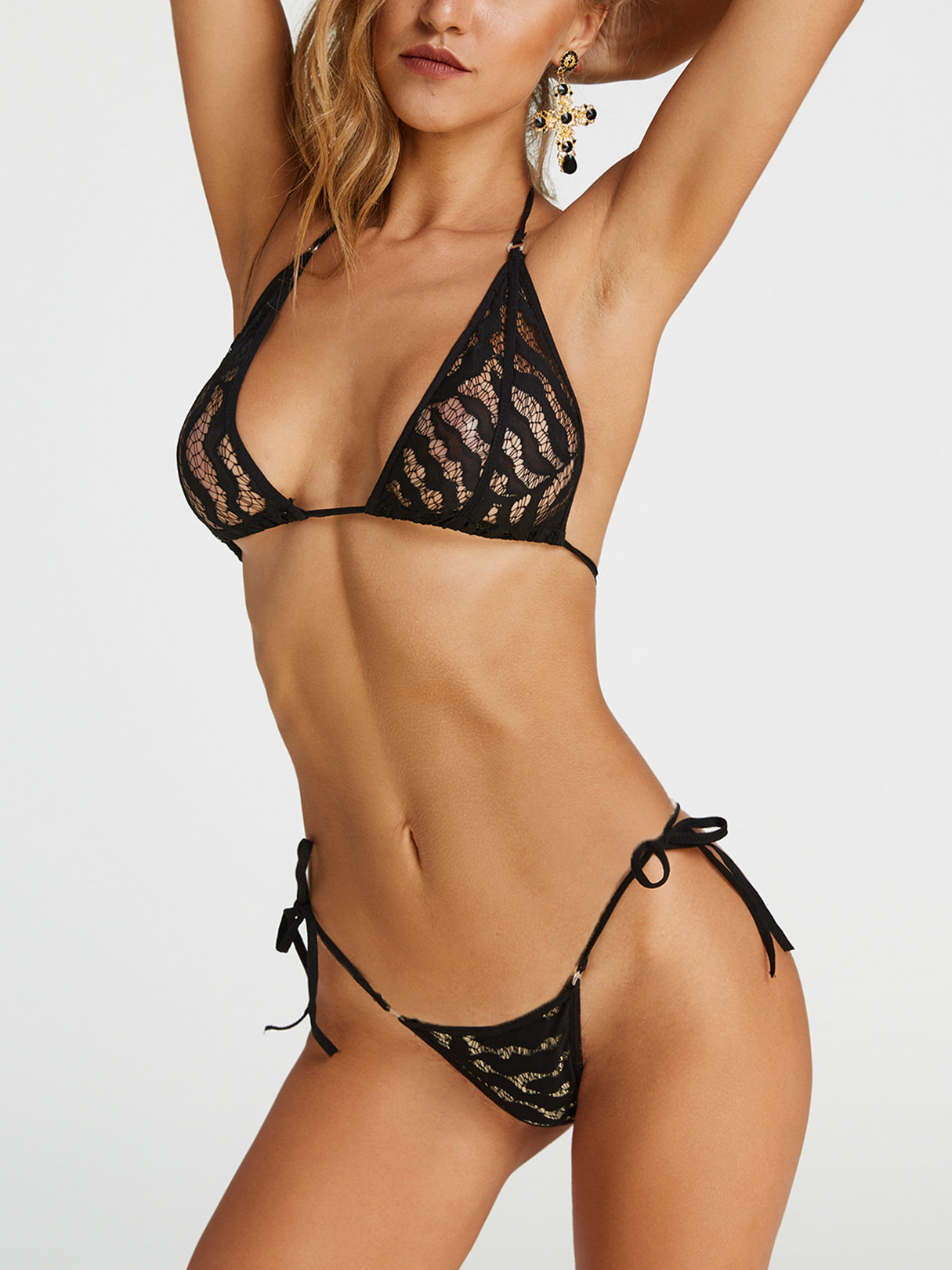 Black Sexy Lace Triangle Strings Bikini Set super sonico anime alphamax skytube black pvc action figure 26cm swimwear can undress clothes sexy figure model collection toy