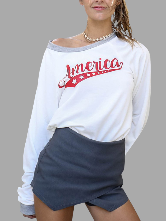 White Letter Round Neck Long Sleeves Loose T-shirt цена