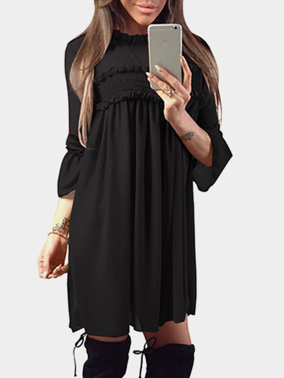 Black Ruffle Trim Crew Neck Flared Sleeves High-Waisted Chiffon Dress zip back fit and flared plaid dress