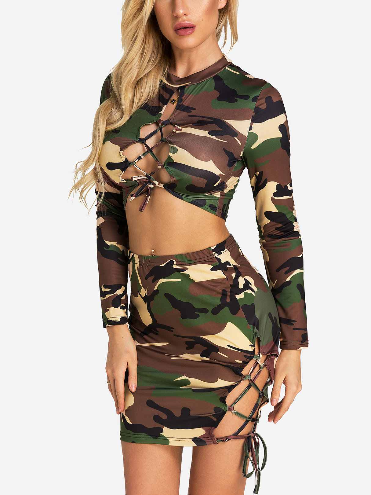 Lace-up Design Camouflage Long Sleeves Top And Lace-up Camouflage Skirt фонарь maglite mini camouflage m2a026e
