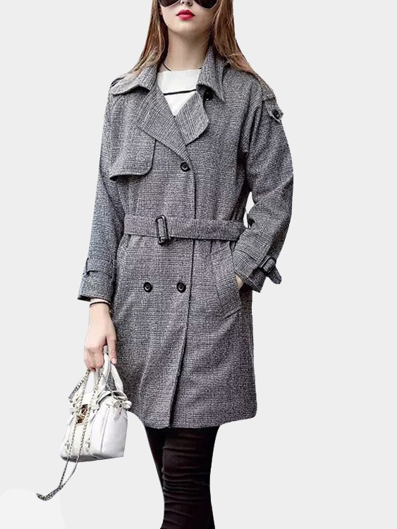 Grey Lapel Collar Double Breasted Grid Trench Coat