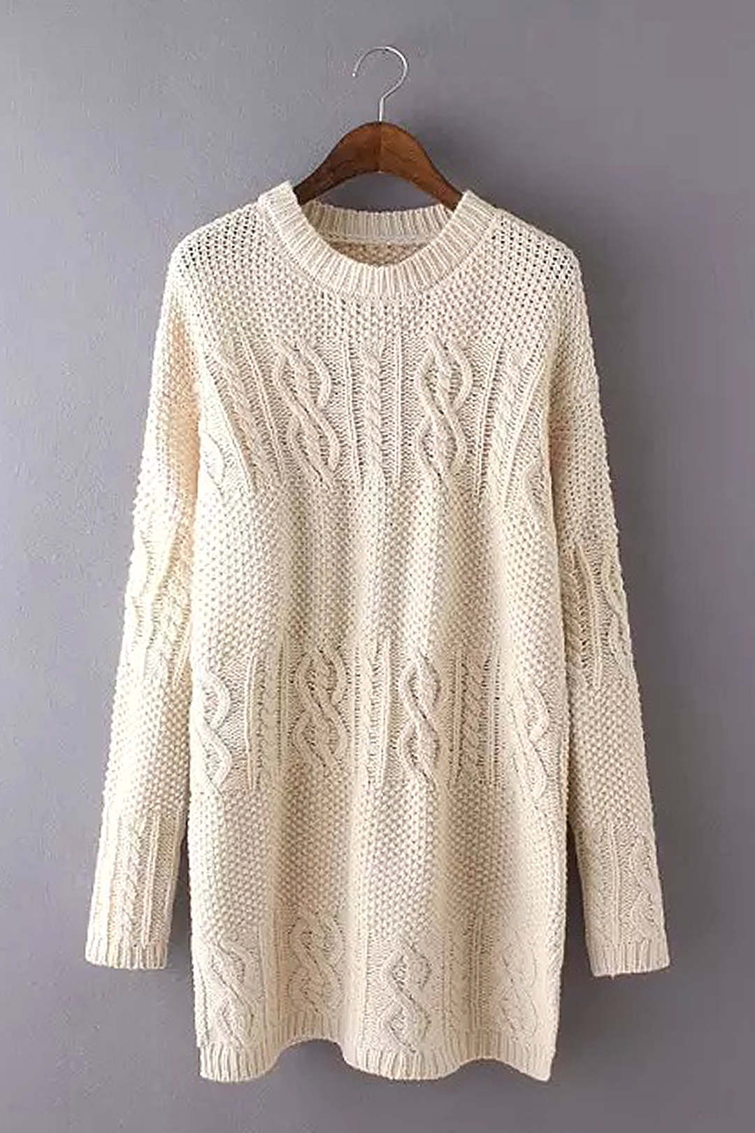 Cable Knit Sweater Dress in Beige