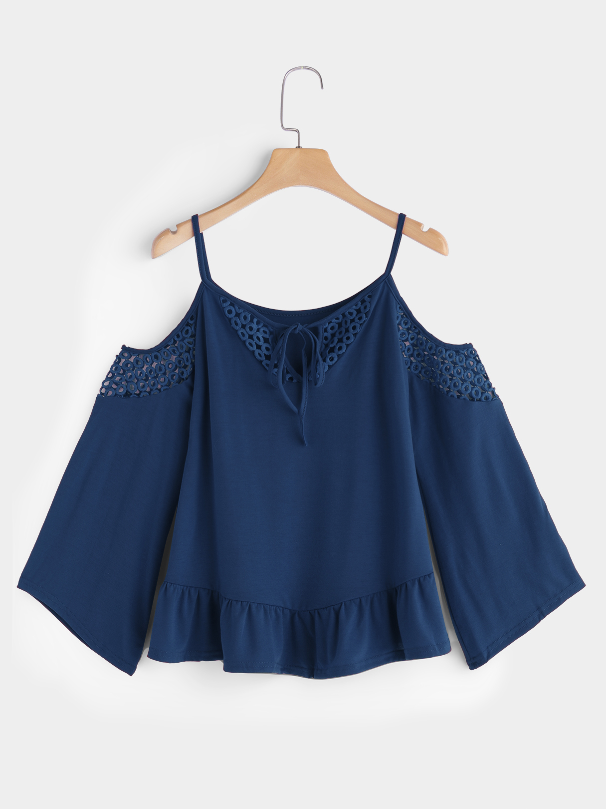 цена на Blue Hollow Detials Cold Shoulder Lace Up Details Long Flared Sleeves Blouse