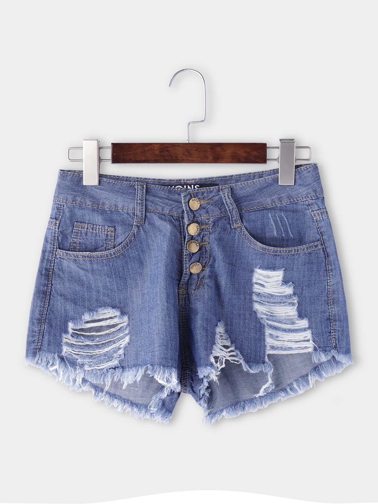 Blue Ripped Details Denim Shorts