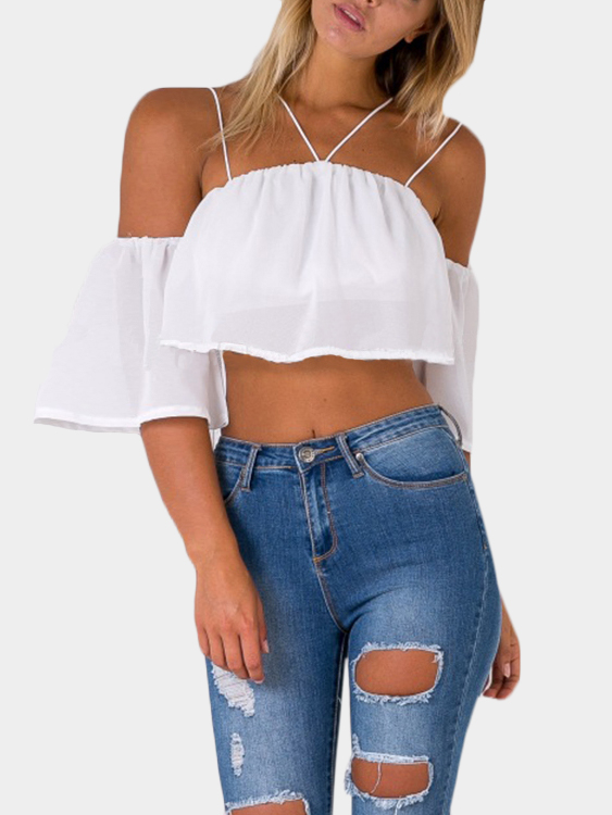 Off-The-Shoulder Crop Top in White