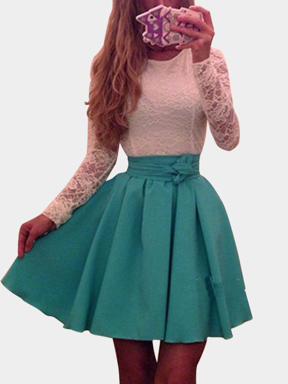 Green Sexy Round Neck Pleated Hem Lace Mini Dress original converse women s down coat hiking down sportswear