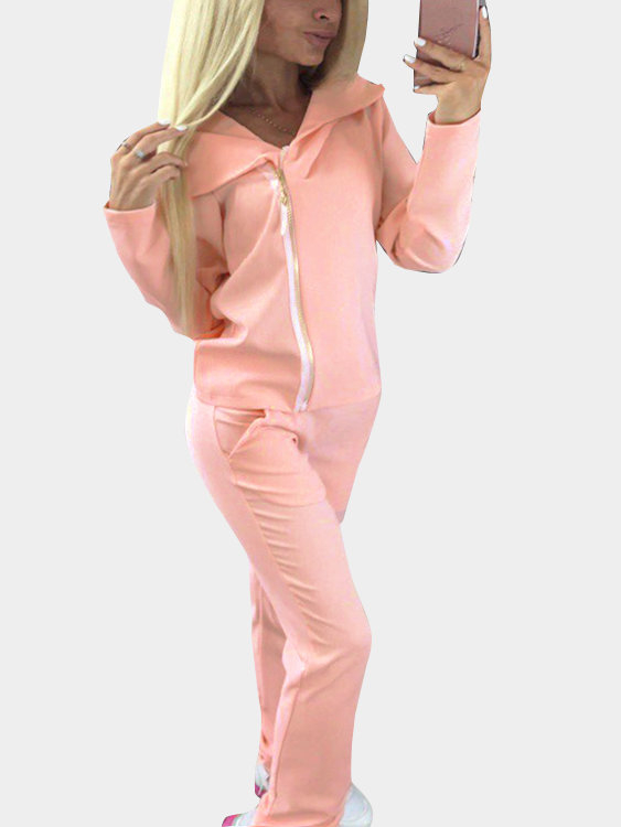 Pink Casual Hooded Suit