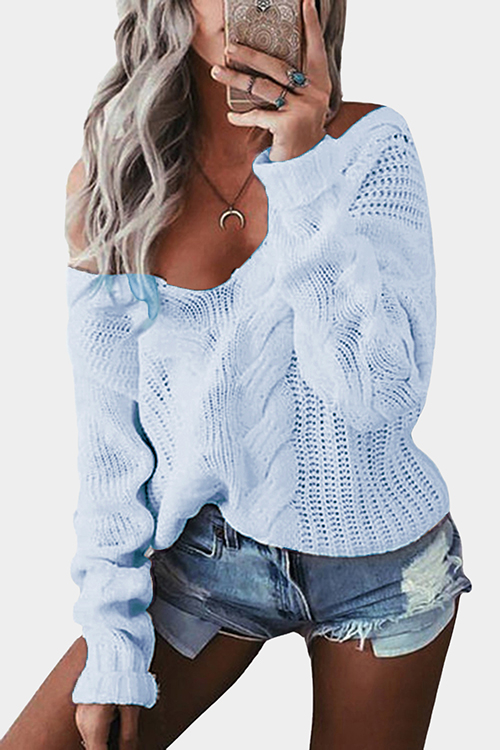 Light Blue V-neck Long Sleeves Causal Loose Jumper bowknot layered wrap choker necklace
