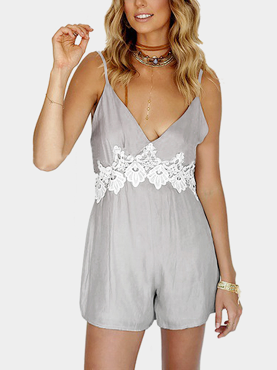Grey Plunge Sleeveless Lace Details High Waist Playsuit with Thin Straps
