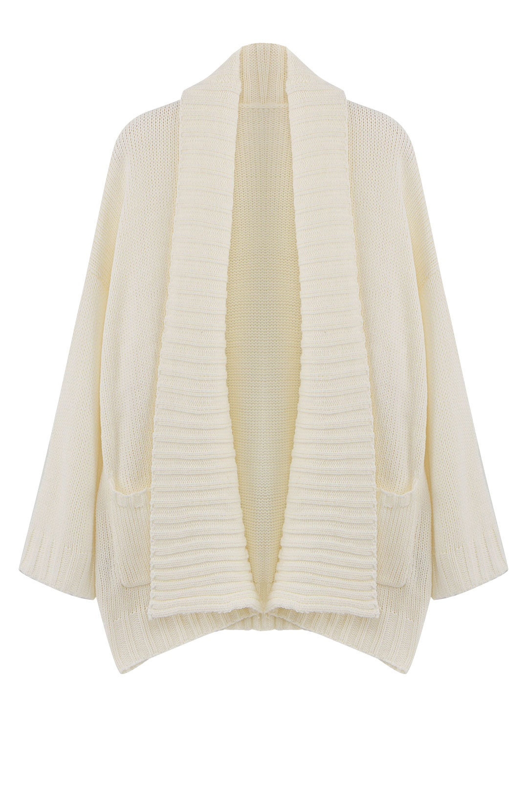 White Wide Lapel Loose Knitted Cardigan