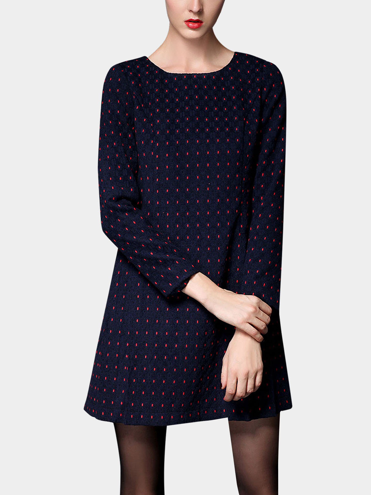 Plus Size Polka Dot Long Sleeve Dress In Navy Blue