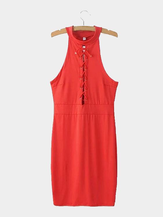 Red Sleeveless Lace-up Front Midi Dress