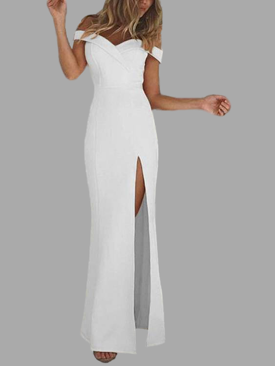 White Off Shoulder Slit Hem Maxi Dress