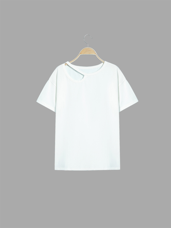 White Casual Easy-matched T-shirt fashion easy matched stripe pattern shirt