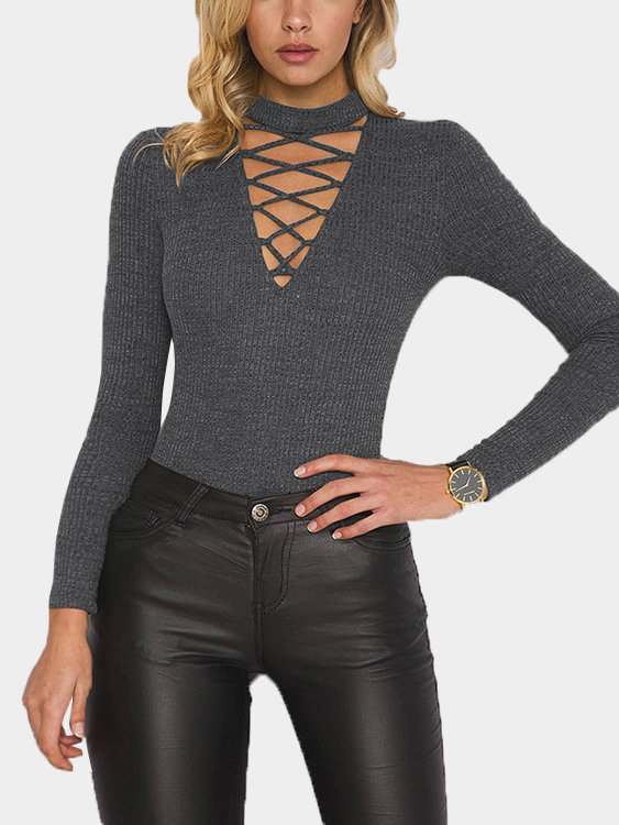 Grey Long Sleeves Hollow Out Bodysuit