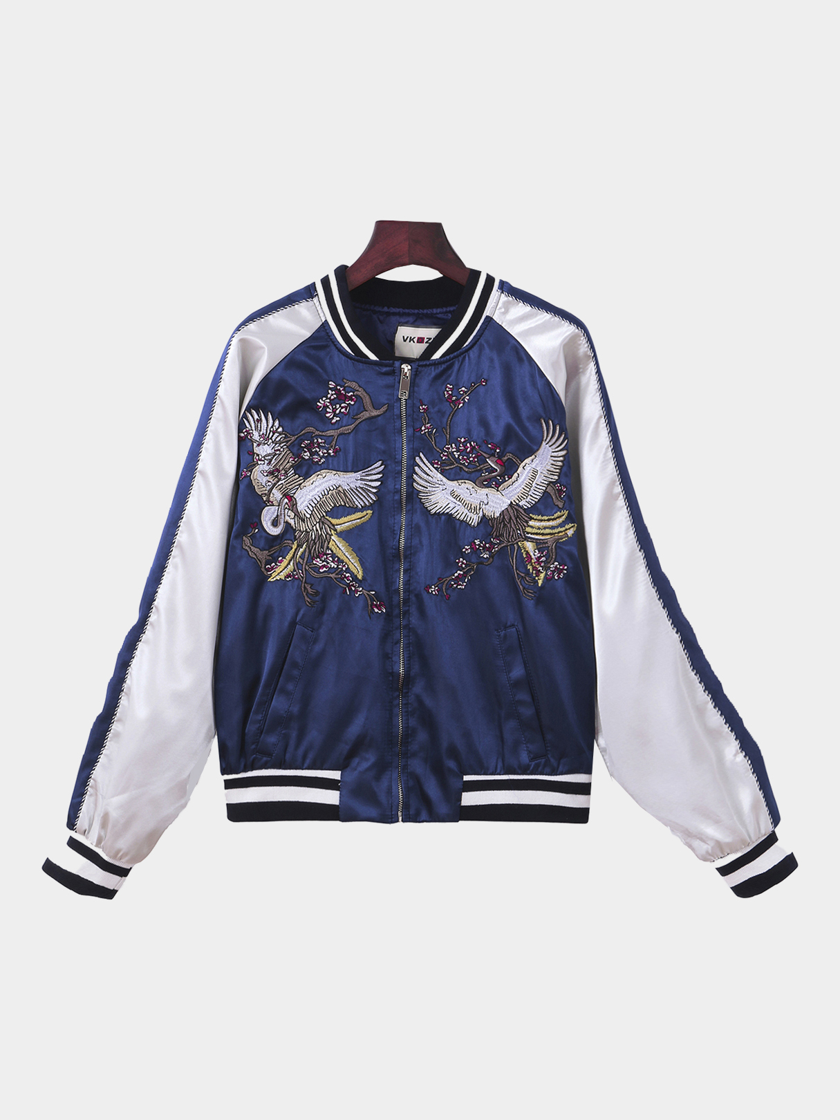 White And Blue Splicing Fashion Animal Embroidery Jacket faber pareo