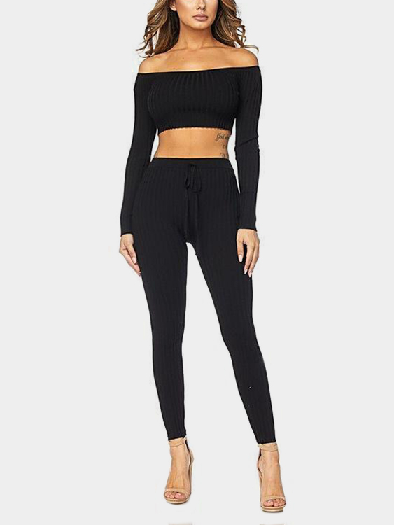 Black Bodycon Off Shoulder Crop Top & Drawstring Waist Pants Two Piece Outfits