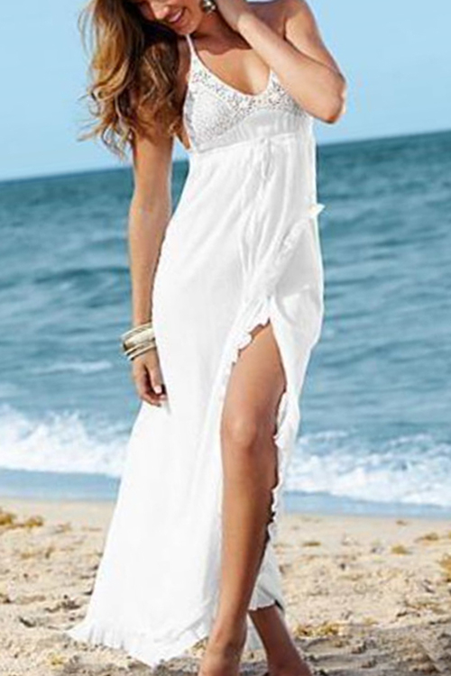 White V-neck Splited Hem Maxi Dress with Lace Details