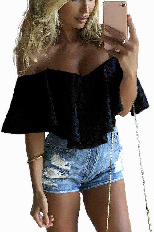 Black Off-The-Shoulder Frill Overlay Lace Bodysuit pearl detail frill off shoulder dress