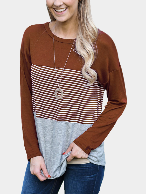 Brown Stripe Stitching Round Neck Long Sleeves T-shirt