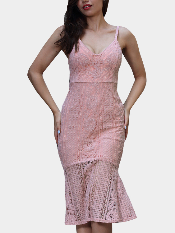 Pink Spaghetti deep V-neck Open Back Fishtail Lace Dress zip back fit and flared plaid dress