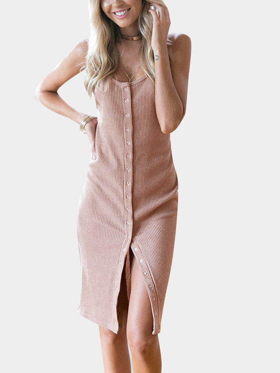 Pink Sexy Backless & Slit Button Cardigan Dress