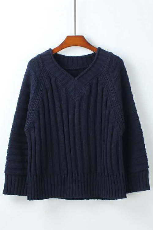 Navy V-neck Loose Fit Thick Sweater