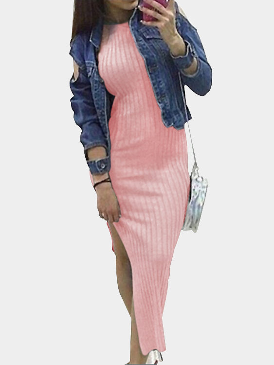 Pink Knit Halter Neck Slit Side Bodycon Midi Dress casual grey turtleneck slit hem midi dress
