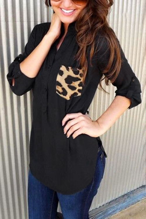 Black Top with Chest Pocket in Leopard