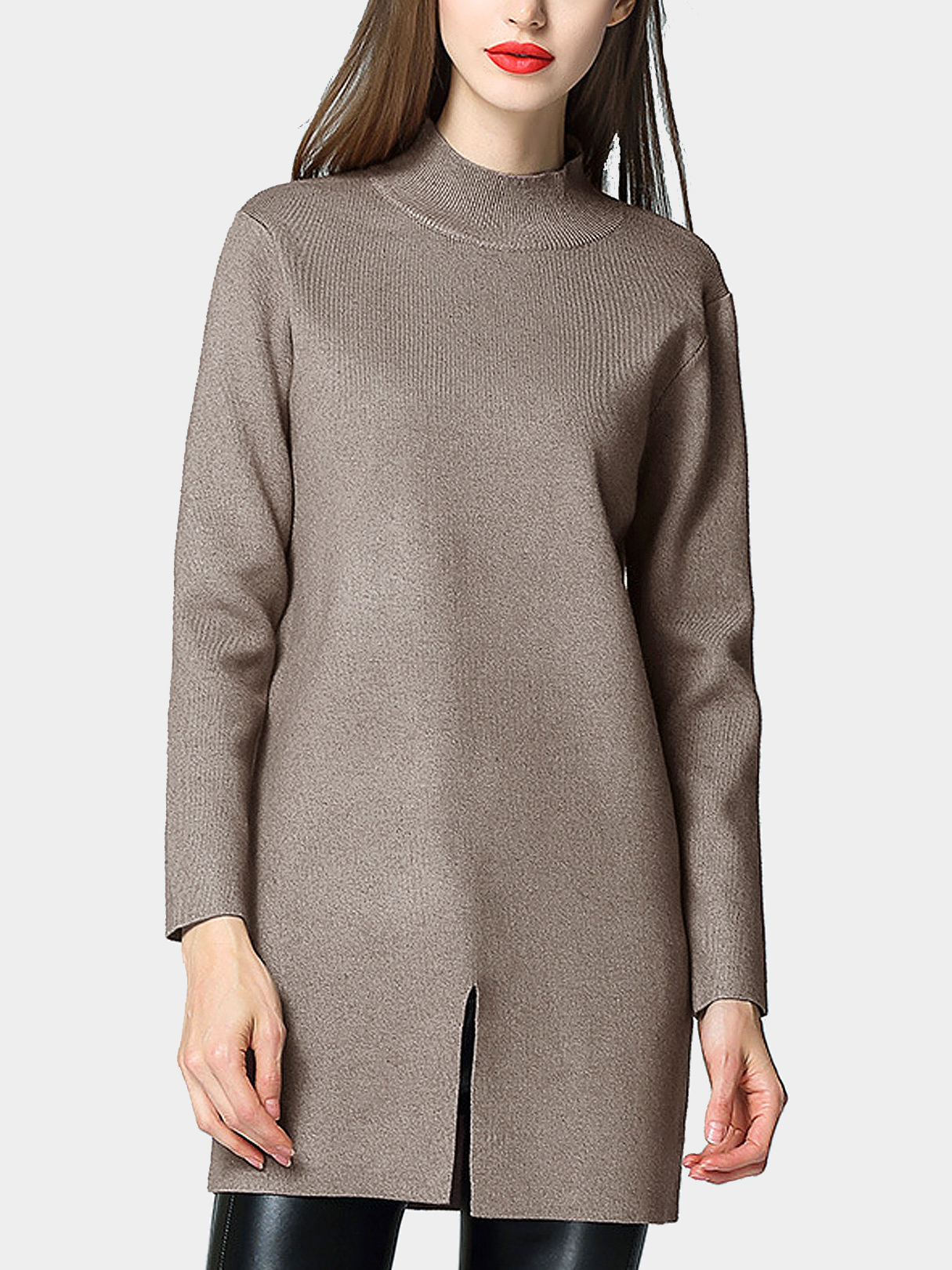 High Neck Front Split Tunic Sweater Dress